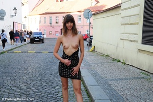 Magnificent brunette with lusciousness small tits exposing herself in public. - XXXonXXX - Pic 2