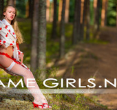 Bodacious teen girls in sexy stockings outdoors