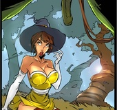 Big chested witch gratifies a strange oger she met in the forrest with