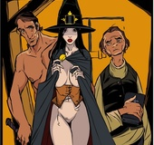 Dark haired witch is made to handle a giant member of an older man