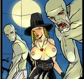 Big bosomed witch loves to play with ghouls and their undead members