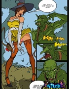 Hunky witch in a yellow dress teases a green ogre and seduces him for