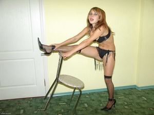 Teen blonde in high heels and fishnet pantyhose stripping - XXXonXXX - Pic 5