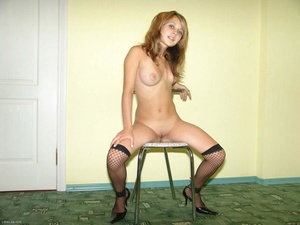 Teen blonde in high heels and fishnet pantyhose stripping - XXXonXXX - Pic 17