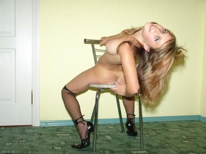Teen blonde in high heels and fishnet pantyhose stripping - XXXonXXX - Pic 19