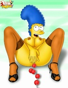 Marge Simpson in stockings playing with anal balls