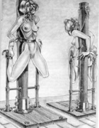 Painful lust as crazy machine are used to stretch and manipulate horny