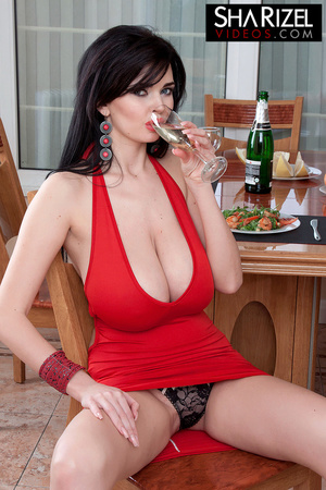 Young and sexy brunette in red dress sho - XXX Dessert - Picture 7