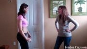 playful girls jeans picking