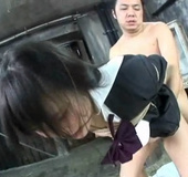 Roped Japanese college girl getting banged roughly