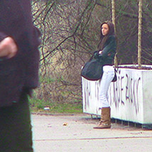 Brunette teen chick in brown high boots waiting for her next fucker at the road - XXXonXXX - Pic 1