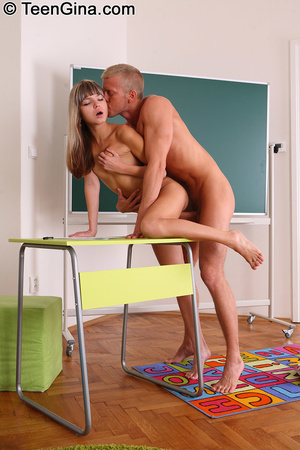 Teen slut Gina gives head to her male te - XXX Dessert - Picture 4