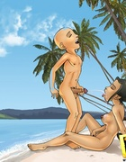 Avatar Aang bangs two chicks on beach and sprays hot cum from dick