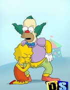Krusty gets blowjobs from Lisa Simpson and monkey