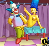 Slutty Marge Simpson sucking Homer and getting her pussy banged by horny