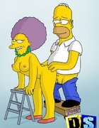 Slutty Selma sucking dude's cock and getting pussy fucked by Homer Simpson
