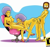 Selma sucking cock, eating pussy and getting fucked by Homer and Nedward