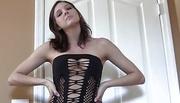brunette tight black dress