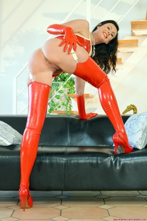 Horny mom in red latex suit gets her hai - XXX Dessert - Picture 3