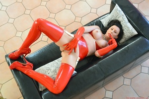 Horny mom in red latex suit gets her hai - XXX Dessert - Picture 8