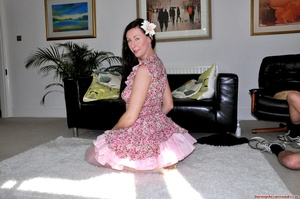 Nasty MILF in a floral dress and white s - XXX Dessert - Picture 10