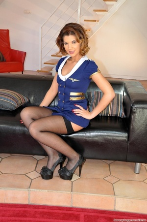 Hot ginger babe in a stewardess' uniform - XXX Dessert - Picture 1