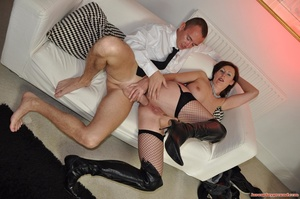 Dirty brunette MILF in fishnet stockings - XXX Dessert - Picture 8