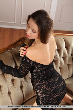 Cute brunette takes off her lace dress a - XXX Dessert - Picture 4