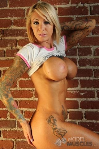 hot tattooed blonde slim