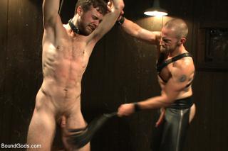 guy blindfolded tied pegged