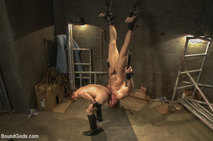 Gay stud hung upside down sucks cock and - XXX Dessert - Picture 7