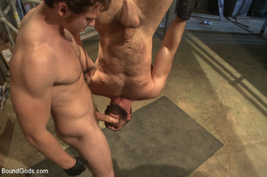Gay stud hung upside down sucks cock and - XXX Dessert - Picture 10