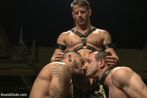 Two gay guys lick master's cock as they  - XXX Dessert - Picture 2