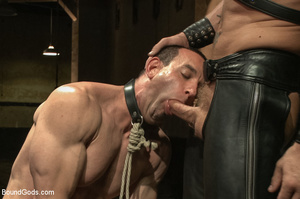 Two gay guys lick master's cock as they  - XXX Dessert - Picture 3