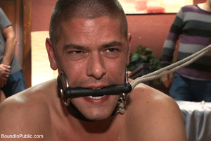Guy in neck harness and cock weights giv - XXX Dessert - Picture 7