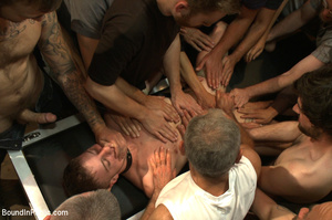 Randy guys tie up cock sucker and spray  - XXX Dessert - Picture 2