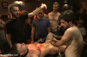 Randy guys tie up cock sucker and spray  - XXX Dessert - Picture 3