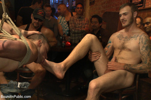 Randy guys tie up cock sucker and spray  - XXX Dessert - Picture 12