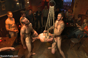 Randy guys tie up cock sucker and spray  - XXX Dessert - Picture 14