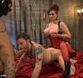 Hot big tits babe use two submissive guys for pleasure plus hot fuck and