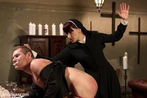 Slutty nun lords over priest with spanki - XXX Dessert - Picture 12