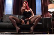 sexy redhead ties cock