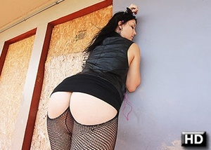 Inked babe in fishnet stockings and glas - XXX Dessert - Picture 1