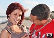 tattooed latina redhead swallows