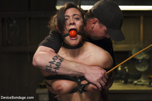 Guy ties up chick, gags her and subjects - Picture 10