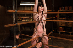 Nude cute girl is hooked to wooden stake - XXX Dessert - Picture 6