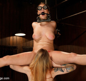Two sexy babes moan in sweet pain as they undergo device bondage plus