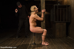 Blonde gets gagged and bound to pole wit - XXX Dessert - Picture 6
