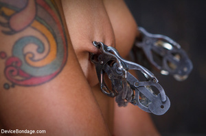 Cute tattooed ebony girl clipped in tits - XXX Dessert - Picture 1