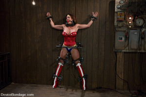 Cute babe in superhero outfit gets gagge - XXX Dessert - Picture 1